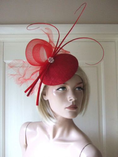Red Fascinator Headpiece with Curled Quills Crystals and Crin Fascinator MNR177